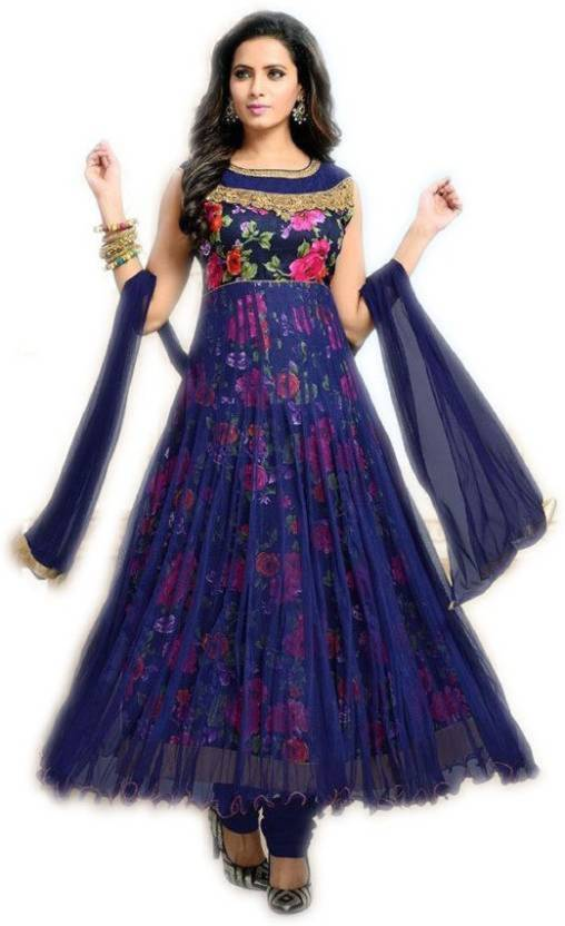 Active Art Silk Printed Semi-stitched Salwar Suit Dupatta Material