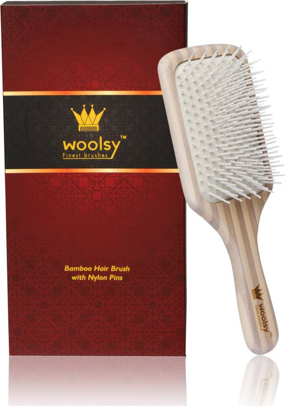 b21dbc05e159 Woolsy™ 100% Natural Bamboo Wood Hair Brush ~ India's No.1 Quality Brushes  ~ For Wet-Dry & Shiny Hair ~ Men & Women ~ Best Comb