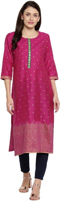 Rangmanch by Pantaloons Printed Women's Straight Kurta  (Red)