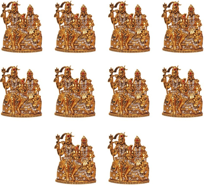 "Brass Lord Shiva Parvati and Ganesha Shiv Family Shiva Parivar Idol Statue 6/"""