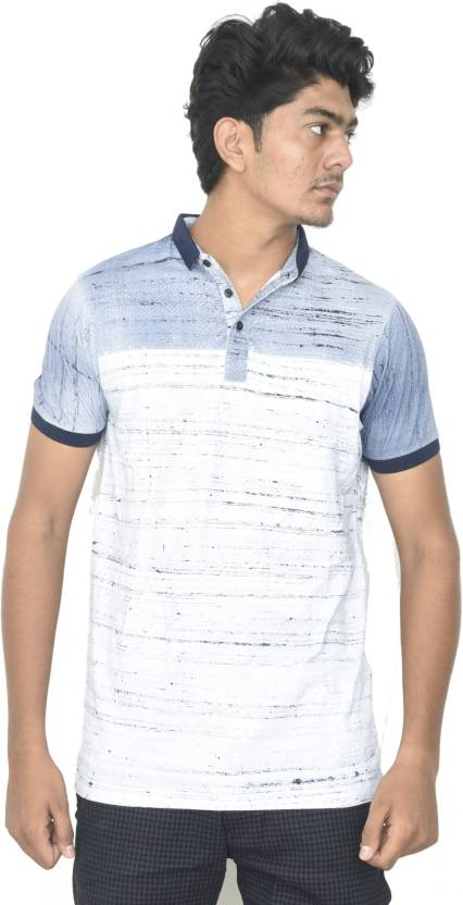 bb3957047 JG FORCEMAN Striped Men Mandarin Collar Light Blue T-Shirt - Buy Light Blue  JG FORCEMAN Striped Men Mandarin Collar Light Blue T-Shirt Online at Best  Prices ...