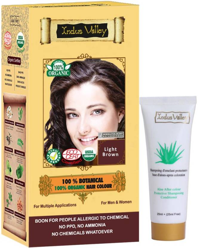 Indus Valley 100% Botanical Organic Healthier Light Brown with free shampoo Hair Color