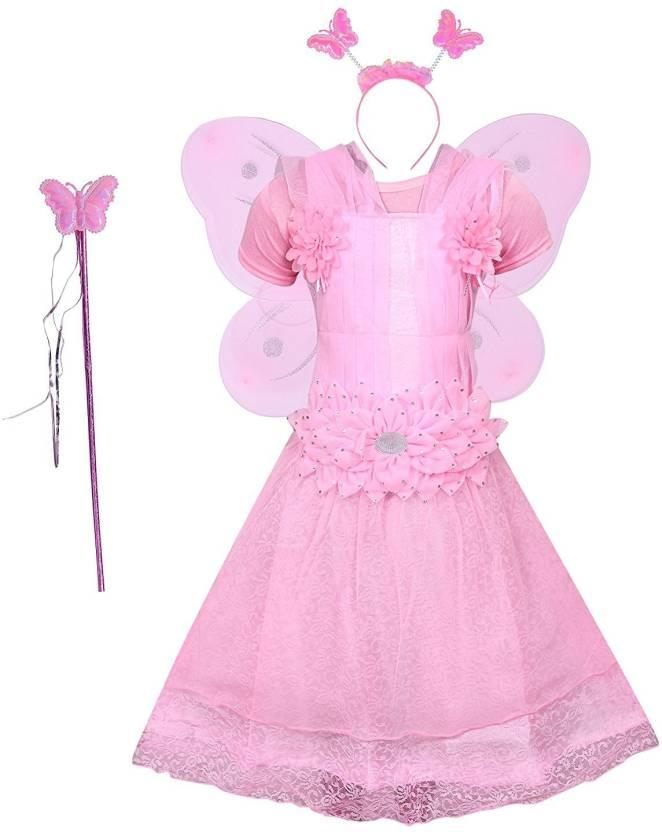 Nikky Fashion Girls Midi/Knee Length Party Dress(Pink, Half Sleeve)