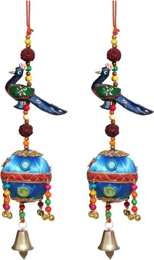 Handicrafts Paradise Door Hanging Blue Peacock With Rudraksha Beads