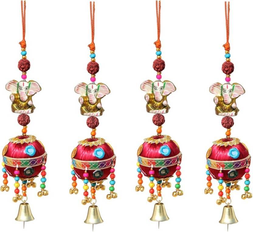 Handicrafts Paradise Door Hanging Gold Ganesha With Rudraksha Beads
