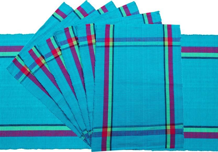 Dhrohar Blue Organic Cotton Table Linen Set Pack of 7