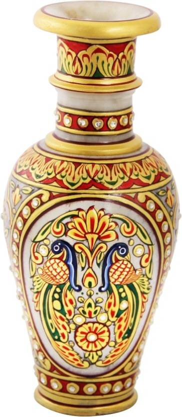 Handicrafts Paradise Marble Flower Pot With Double Peacock Painted