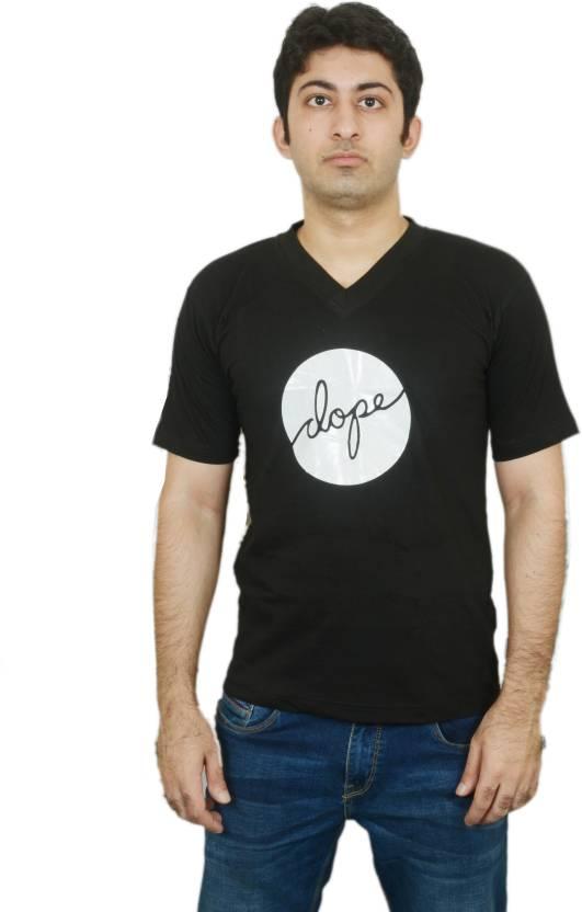 35c6400dd OOVS Printed Men's V-neck Black T-Shirt - Buy OOVS Printed Men's V ...