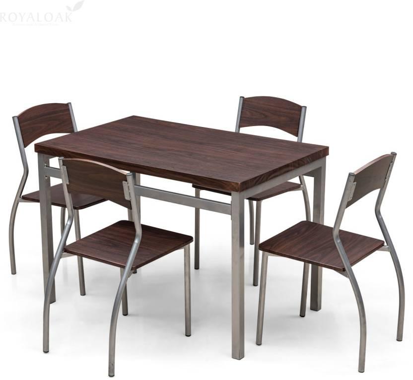 81eb5277641 RoyalOak ZITA Engineered Wood 4 Seater Dining Set (Finish Color -  Black Brown)