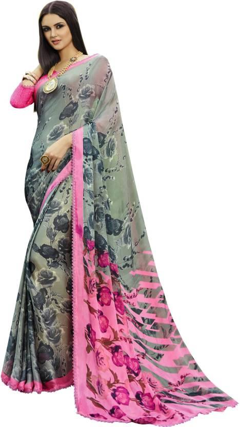 7c8b4c9959 Shaily Retails Floral Print Fashion Satin, Silk Saree (Multicolor)