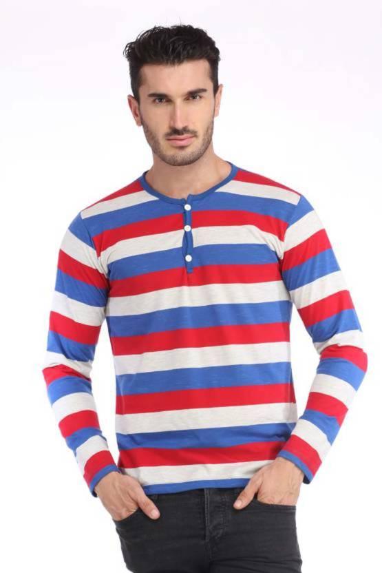 Trendfull Striped Men s Henley White 7fc974c66