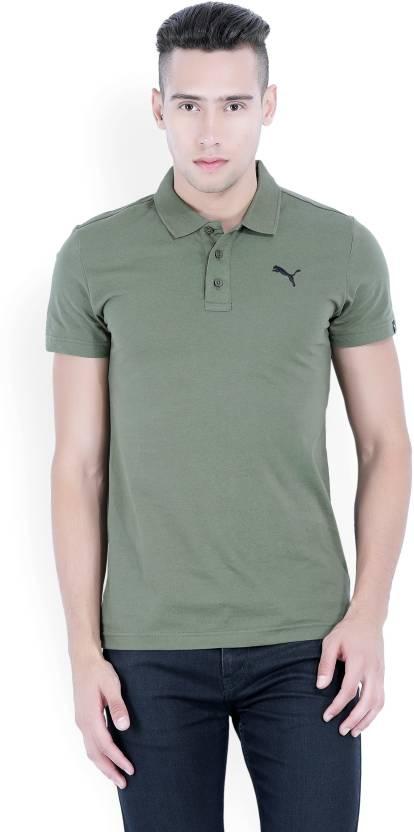 873b2410bff Puma Solid Men's Polo Neck Green T-Shirt - Buy Olive Night Puma ...