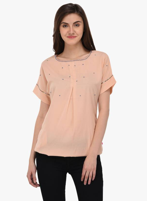 d2d12869a44 Tops and Tunics Casual Dolman Sleeve Embroidered Women's Beige Top - Buy  Tops and Tunics Casual Dolman Sleeve Embroidered Women's Beige Top Online  at Best ...