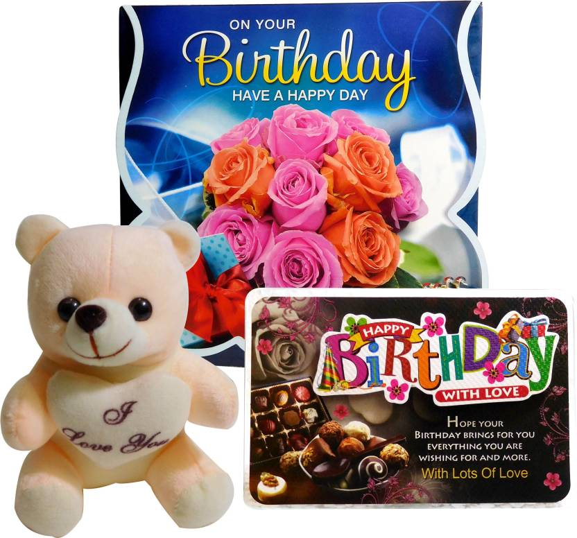 Siddhi Gifts Birthday Greeting Card And Cute Soft Teddy With Quotation