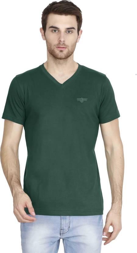 d0bc1ddf2 Police Solid Men s V-neck Dark Green T-Shirt - Buy Dark Green Police Solid Men s  V-neck Dark Green T-Shirt Online at Best Prices in India