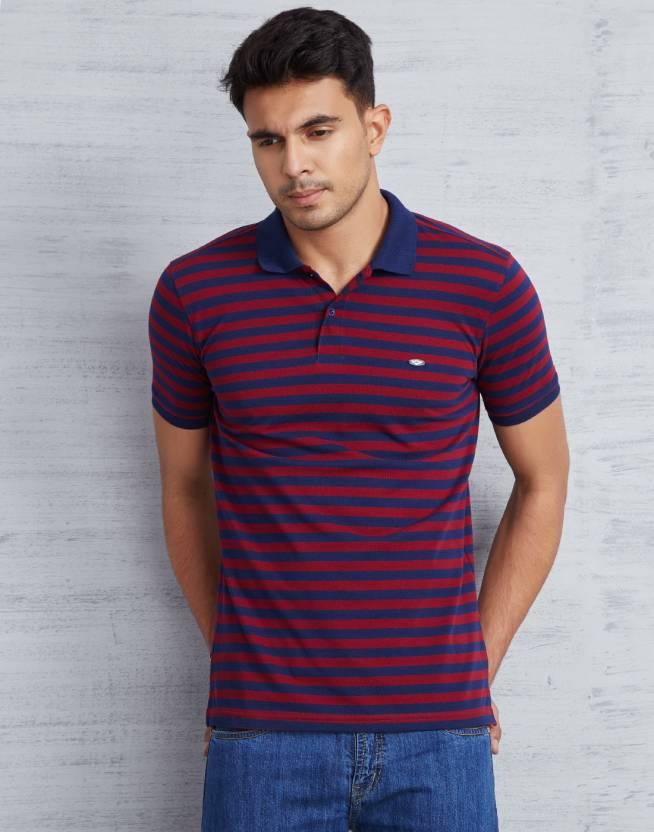 Metronaut Striped Mens Polo Neck Red, Blue T-Shirt