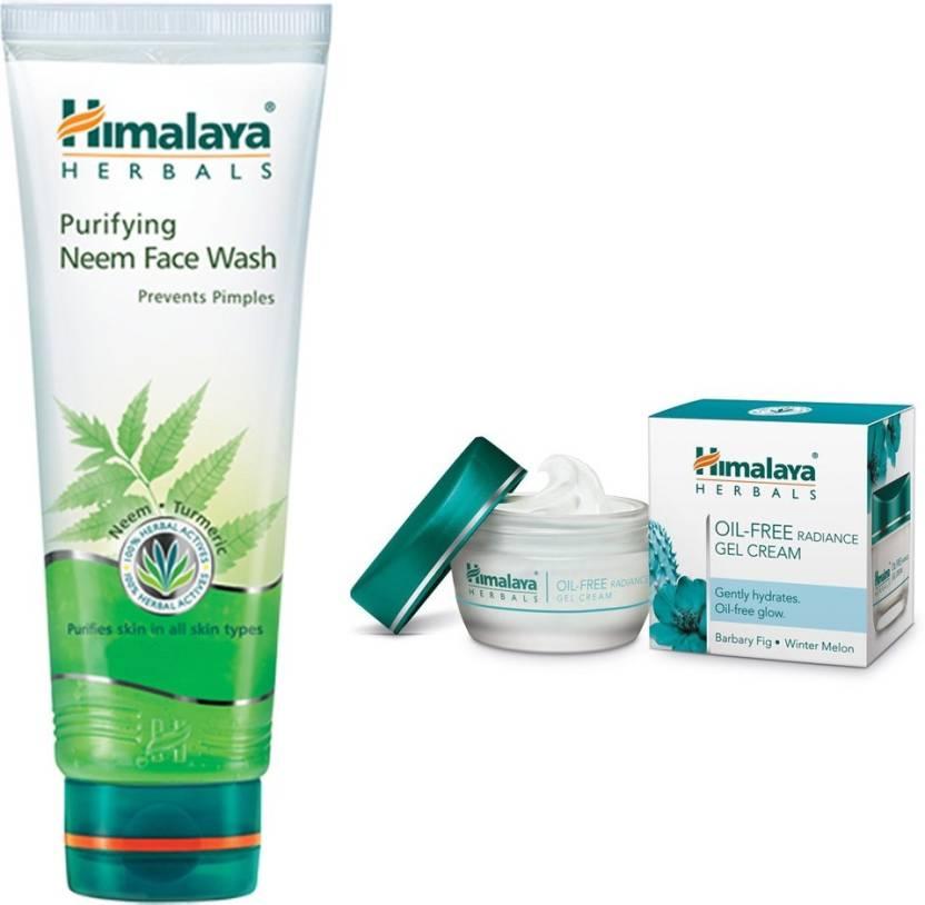1d6cccc60550 Himalaya Purifying Neem Face Wash, Oil Free Radiance Gel Cream (Set of 2)
