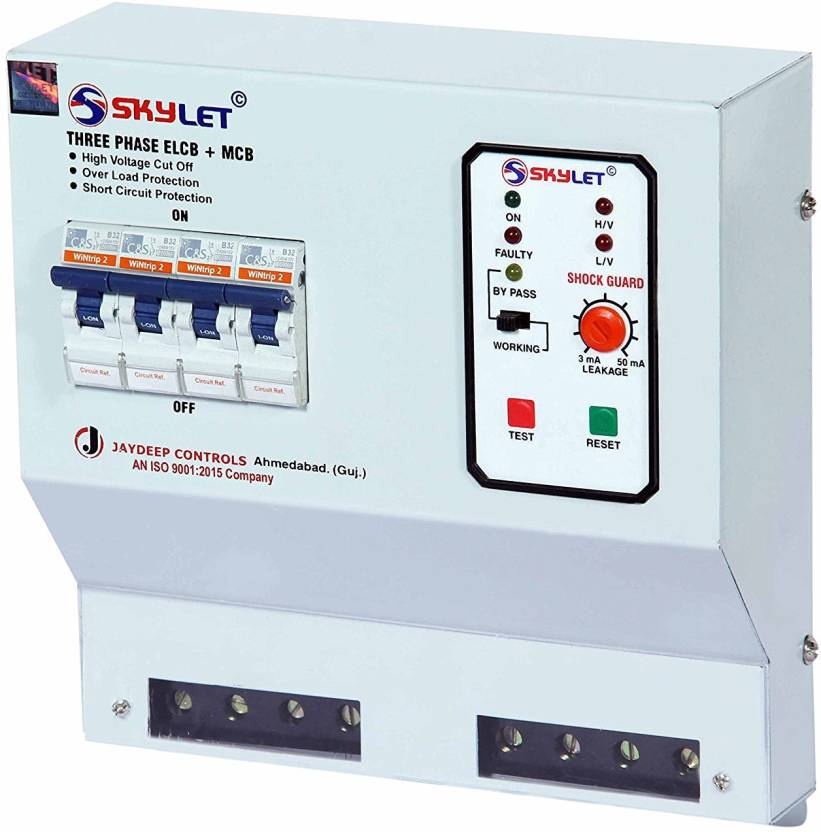 SKYLET Three Phase ELCB + RCCB + ISI Marked 4 pole MCB 63 A with ...