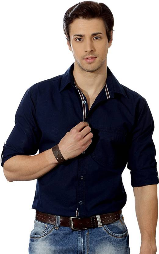 Suspense Men Solid Casual Dark Blue Shirt - Buy Suspense Men Solid ...