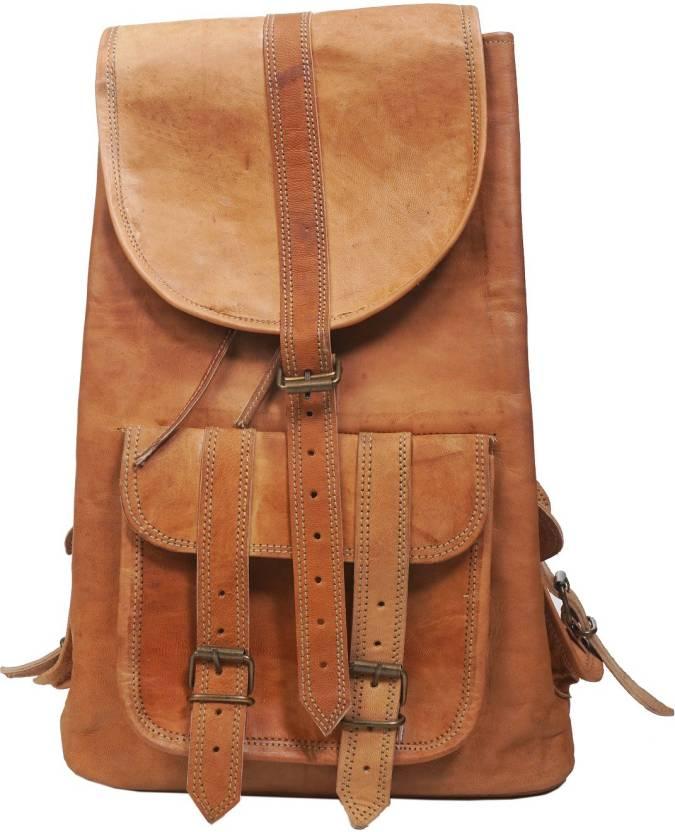 f9fc2332df47 Anshika International Brown Backpacks Leather Bag For Men Women ...