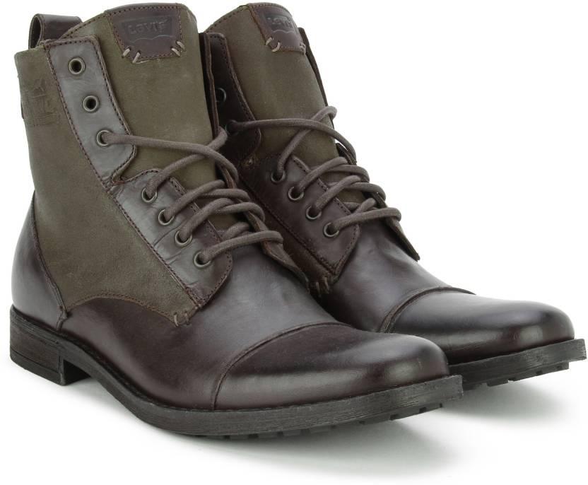 af5fa5396cf98 Levi's Cow boy Boots For Men - Buy Brown Color Levi's Cow boy Boots ...