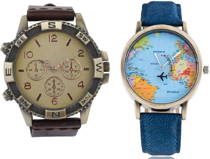 Mini World Map.Declasse Brown Direction With Mini World Map Party Wear Watch For