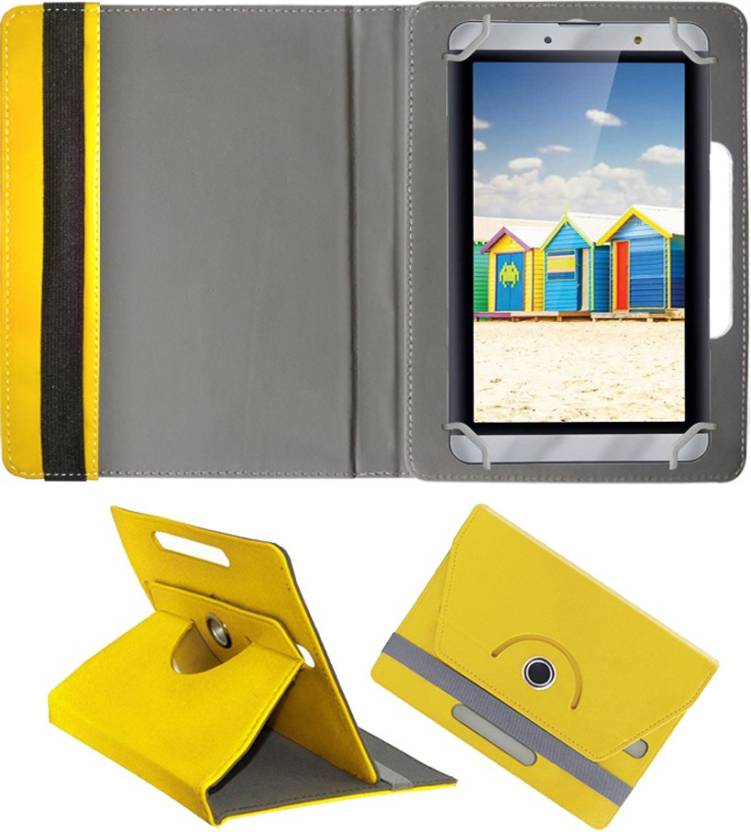 Fastway Book Cover for iBall Slide Gorgeo 4GL Tablet Yellow, Cases with Holder