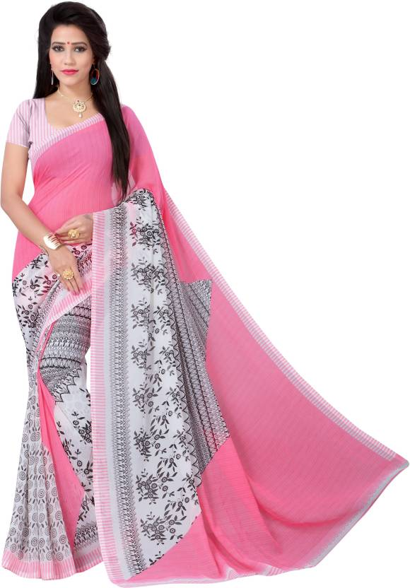 Vimalnath Synthetics Floral Print Fashion Georgette Saree  (Pink, Black)