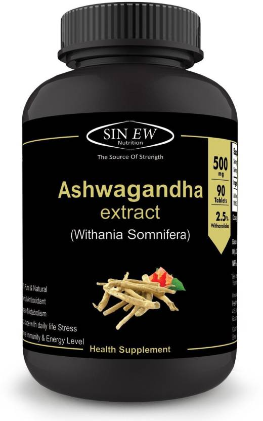 Sinew Nutrition Ashwagandha (90 No ) Tablets General Wellness | Anxiety  Relief, Stress Support & Mood Enhancer Natural Supplement