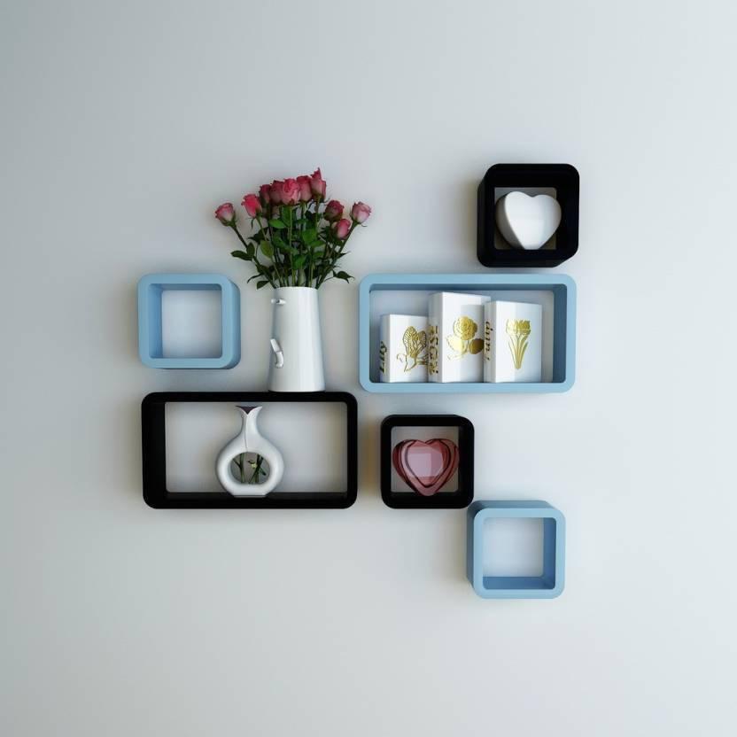 Decorasia Black & Sky Blue Cube Shape MDF Wall Shelf Price