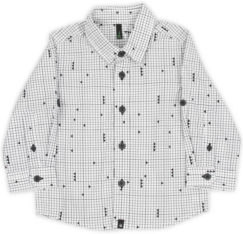 4767f52cdfd1 United Colors of Benetton Boys Checkered Casual White Shirt - Buy ...