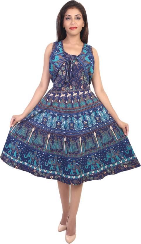 Decot Paradise Women Skater Dark Blue Dress