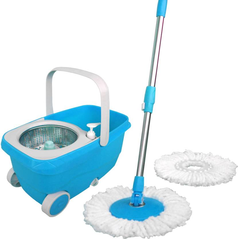 WCSE Light Blue Color Wheel Supporting Trolley Bucket Wet Dry Mop