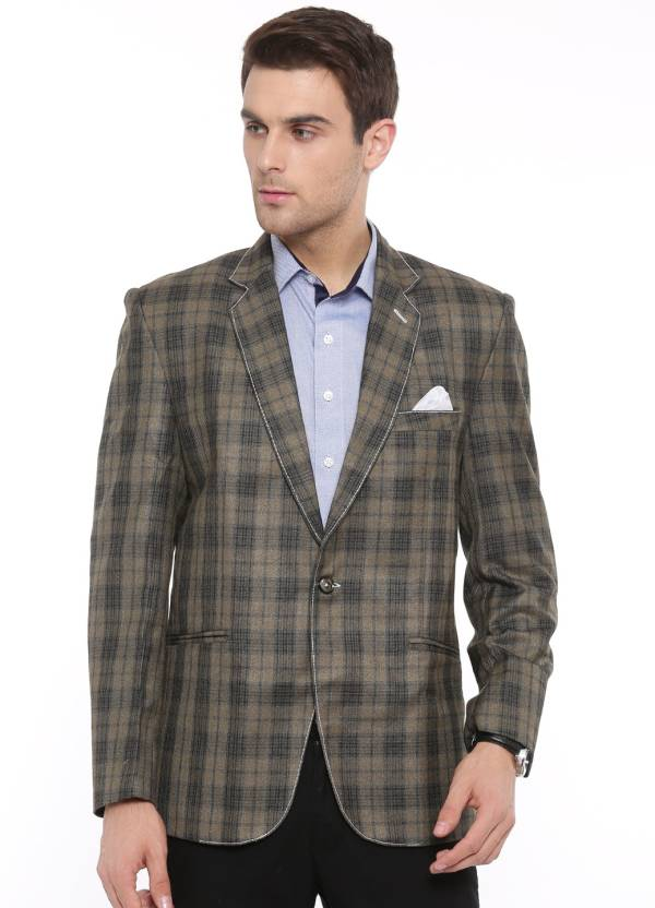 4f200a1ab1 Shaftesbury London Checkered Single Breasted Casual Men's Blazer (Green)