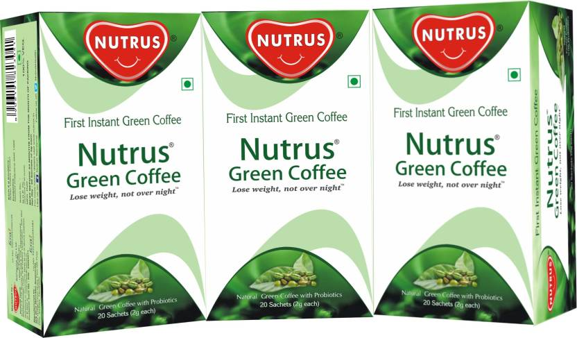 Nutrus Green Coffee 20 Sachets Pack Of 3 Instant Powder Form For Weight Loss Instant Coffee 40 G