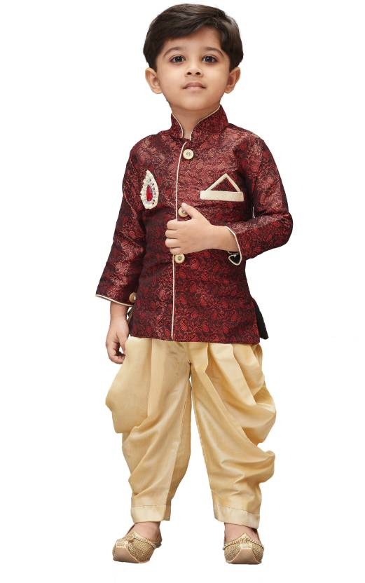 184986ea2 JBN Creation Boys Festive & Party Kurta and Pyjama Set (Maroon Pack of 1)