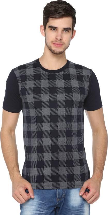 Shaun Printed Mens Round Neck Dark Blue T-Shirt