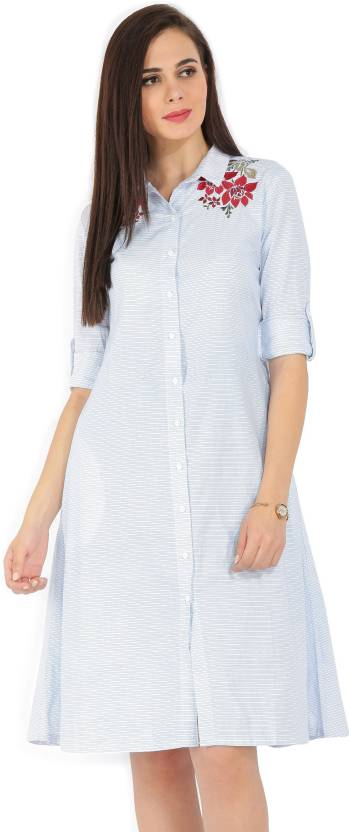 Tokyo Talkies Women's Shirt White, Blue Dress