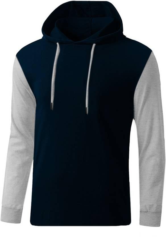 GHPC Solid Men's Hooded Dark Blue T-Shirt