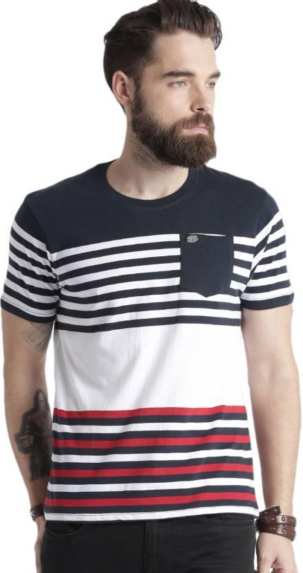 78aee9abdb Roadster Striped Men Round Neck Dark Blue, White T-Shirt - Buy Roadster Striped  Men Round Neck Dark Blue, White T-Shirt Online at Best Prices in India ...