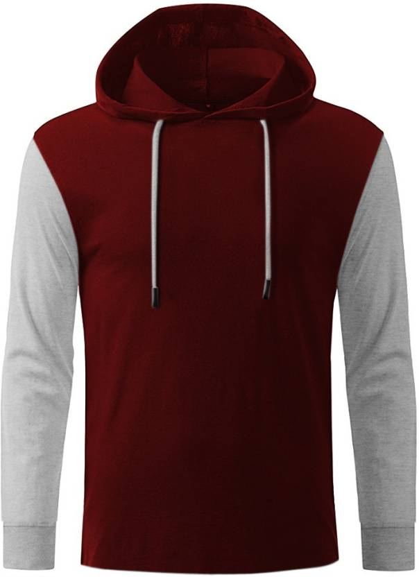 GHPC Solid Men's Hooded Maroon T-Shirt