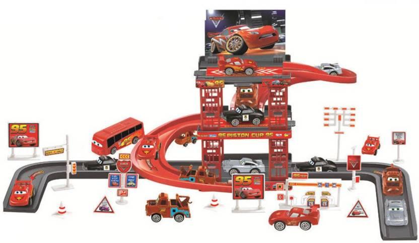 Kiditos Mcqueen Mater Car Park Garage Racing Track Playset Toy 41 Pcs