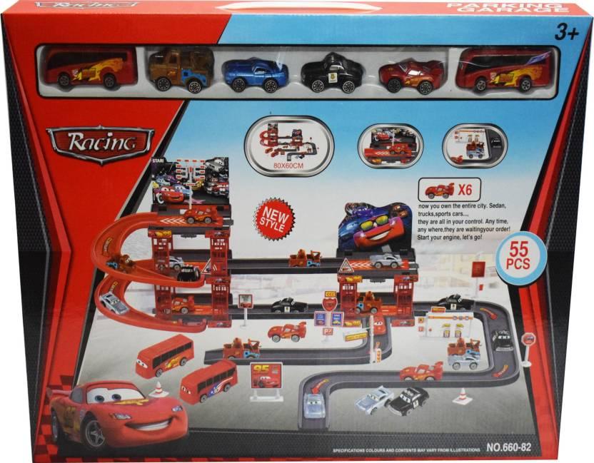 Kiditos Mcqueen Mater Car Park Garage Racing Track Playset Toy 55
