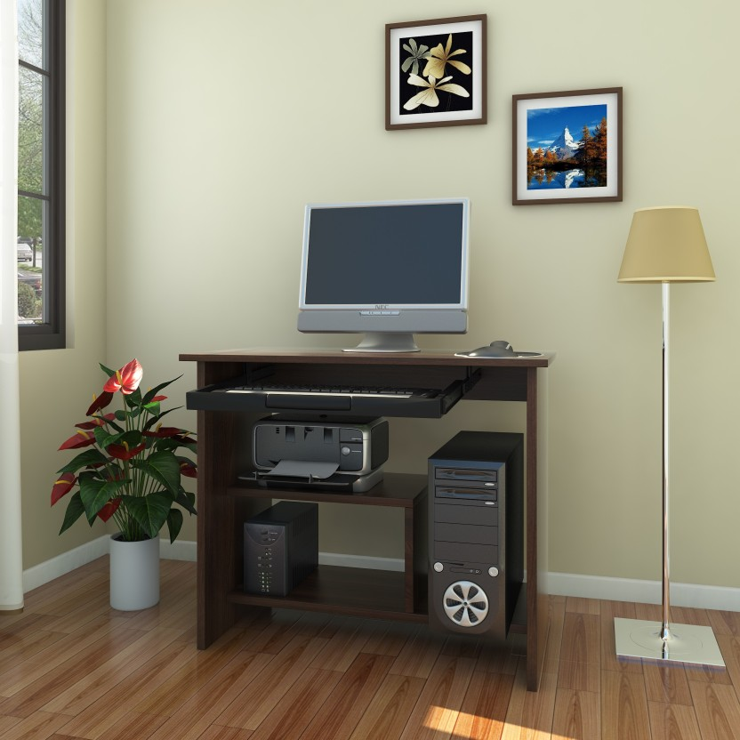 Debono Lucky Computer Table With ABS Keyboard Tray And Shelves For Printer  Engineered Wood Computer Desk