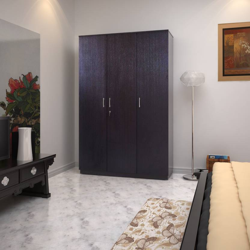 Hometown Prime 3 Door Wenge Engineered Wood Almirah Price In India