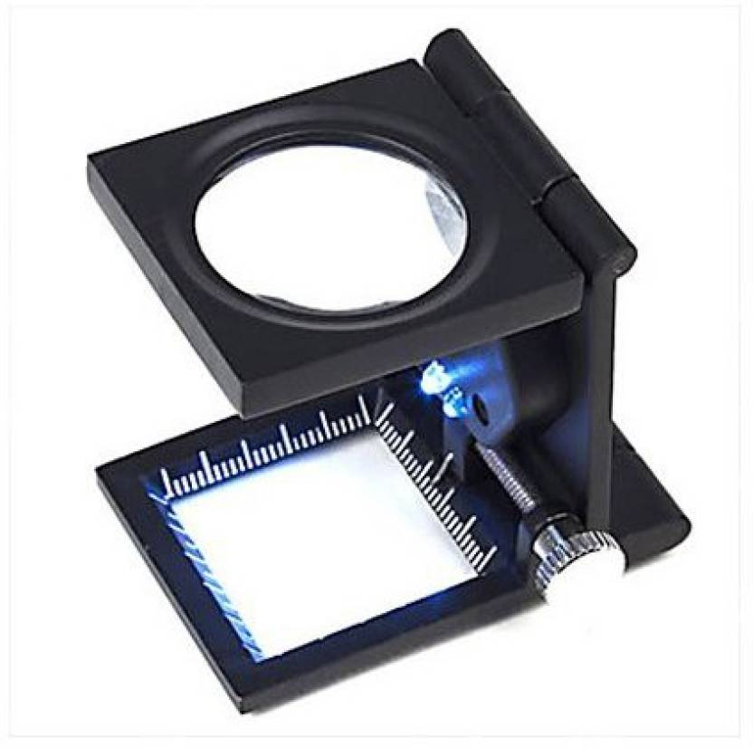 Skywalk 8X Folding Mini Magnifying Glass Magnifier With 2 LEDs Scale For Currency Detecting Jewelry Identifying