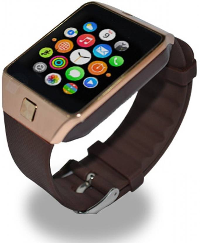 Mizco DZ09 With SIM and 32 GB Memory Card Slot and Fitness Tracker Gold Smartwatch