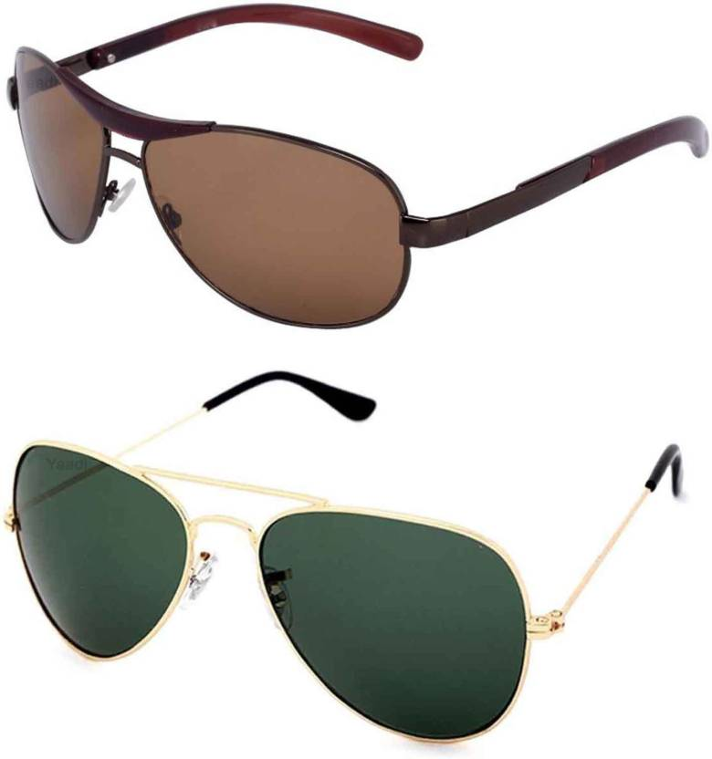 bc3dcf864836 Buy Yaadi Wrap-around, Aviator Sunglasses Green, Brown For Men ...