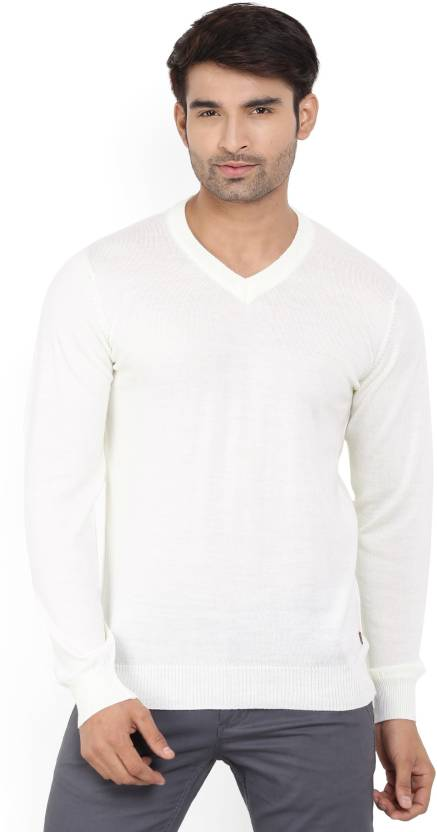 c268a998fc2 Raymond Solid V-neck Formal Men White Sweater - Buy Brown Raymond Solid  V-neck Formal Men White Sweater Online at Best Prices in India