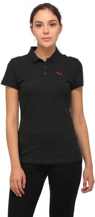 4ed9cbc1 Puma Solid Women Polo Neck Black T-Shirt - Buy Puma Solid Women Polo ...